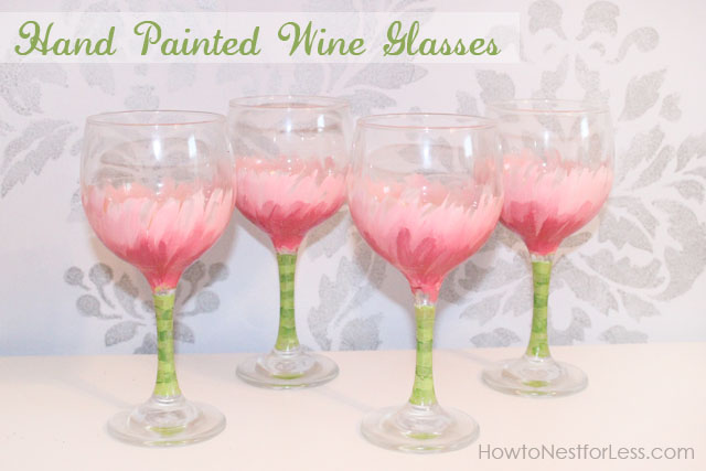 The pink, white, and green painted wine glasses.