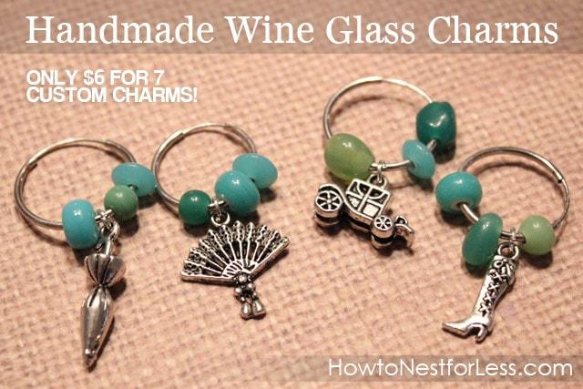 Handmade wine glass charms graphic.