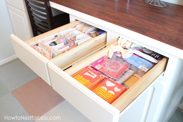 organize craft room desk