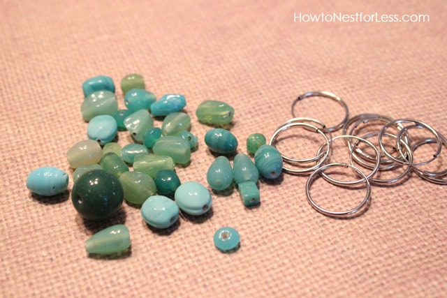 Blue, green, and turquoise stones for the charms.