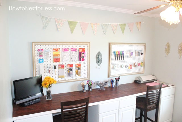 craft room bunting and peg boards