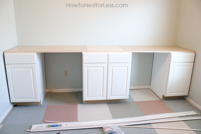Using Stock Kitchen Cabinets For Home Office Space