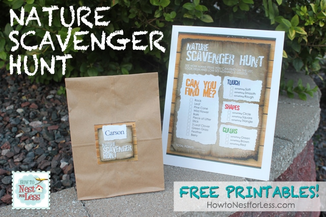 Free Printable Birthday List ~ Nature scavenger hunt for the kids free printable how to nest