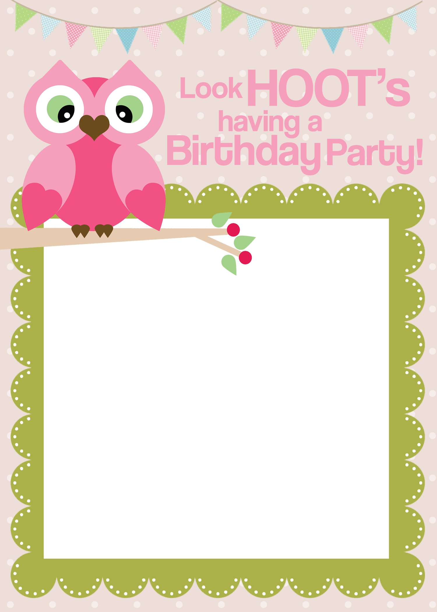 owl birthday party invite
