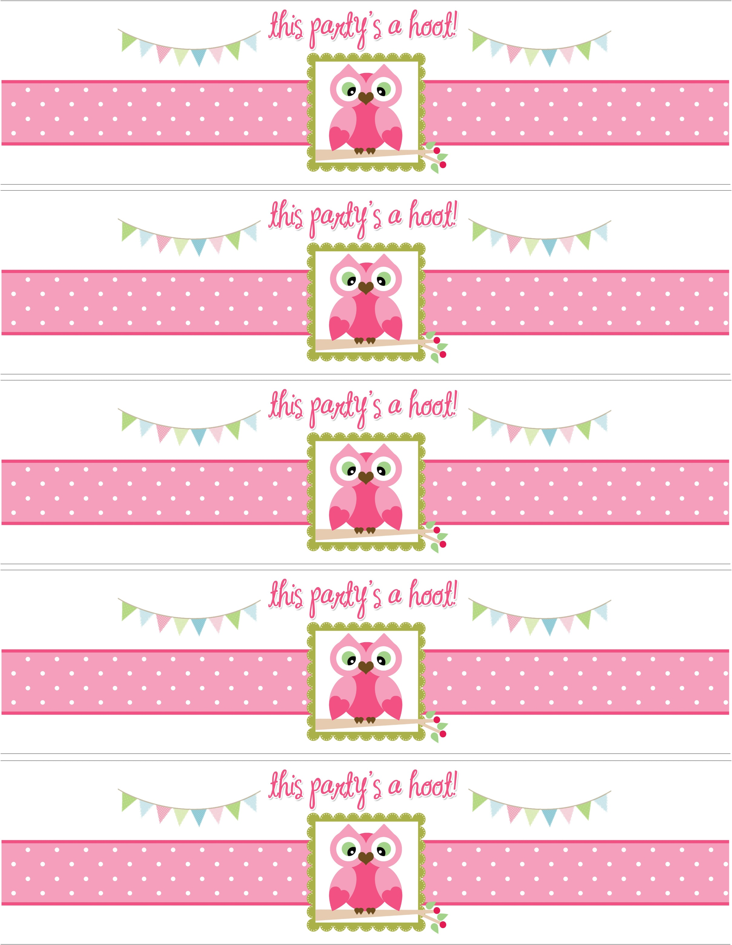 Owl birthday party with free printables how to nest for for Free water bottle label template