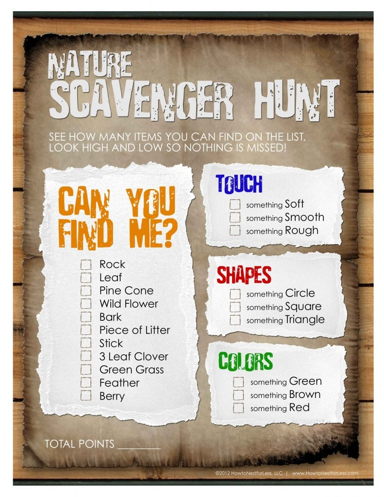 Find, touch, shapes and colors on the nature scavenger hunt paper.