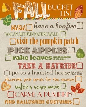 Fall bucket list printable.