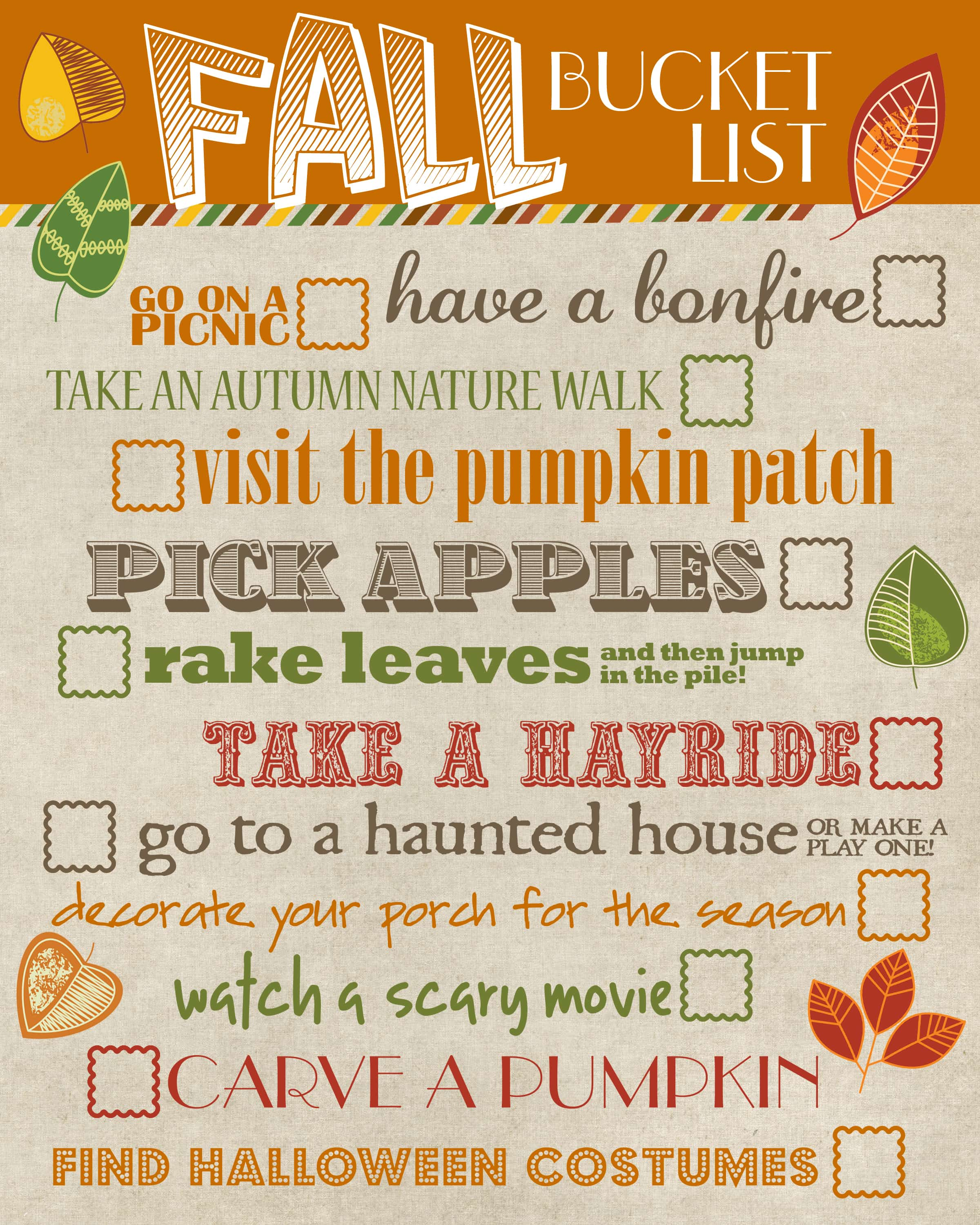Cool Kitchens Fall Bucket List Free Printable How To Nest For Less