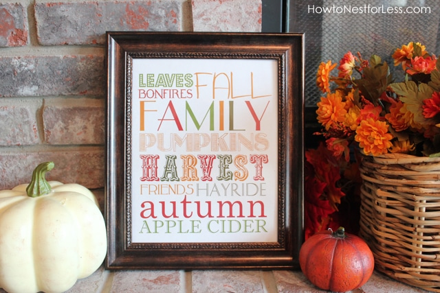 The fall printable on the fireplace.