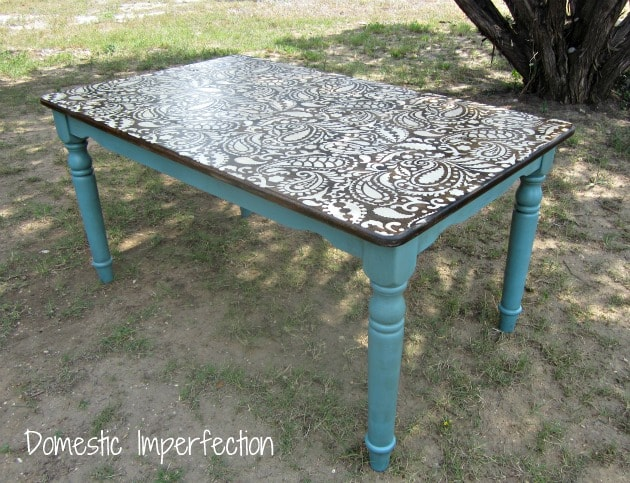 paisley stenciled table from domestic imperfection