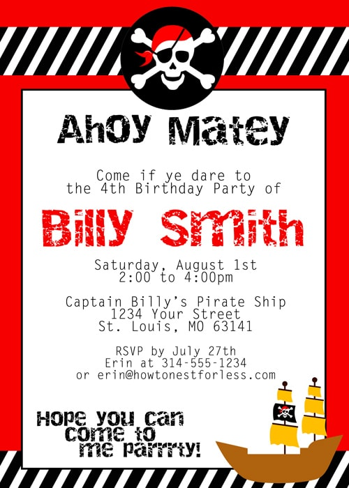 Pirate Themed Birthday Party with FREE Printables How to Nest – Free Pirate Party Invitations
