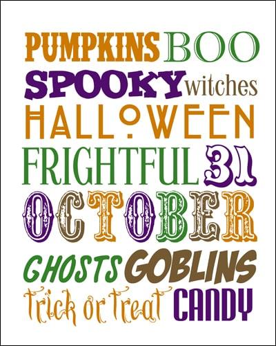 Halloween Subway Art {free printable}