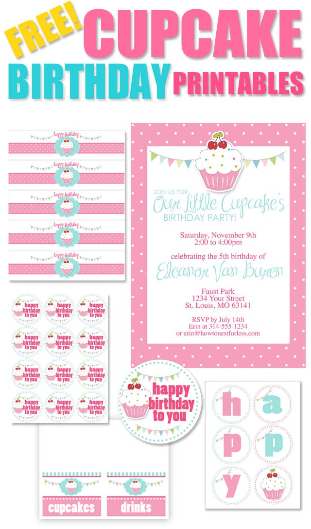 Cupcake Themed Birthday Party With FREE Printables How To Nest For - Cupcake name tag template