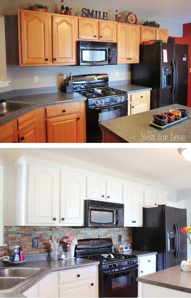 kitchen cabinet makeover reveal how to nest for less. Black Bedroom Furniture Sets. Home Design Ideas