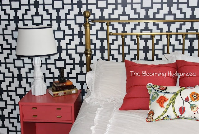 Stenciled accent wall from The Blooming Hydrangea