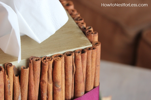 A white tissue sticking outside of the cinnamon box.