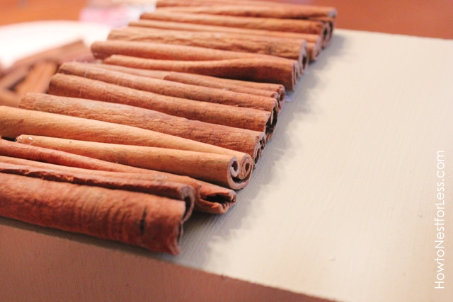 Cinnamon sticks lying in a row on the table.