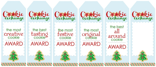 Red and green cookie exchange awards.