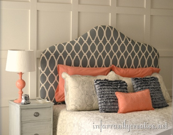 Stenciled Headboard from Infarrantly Creative