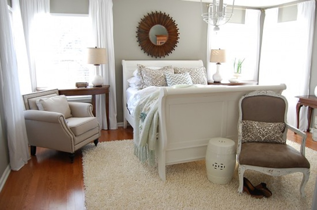 Neutral master bedroom from The Nester