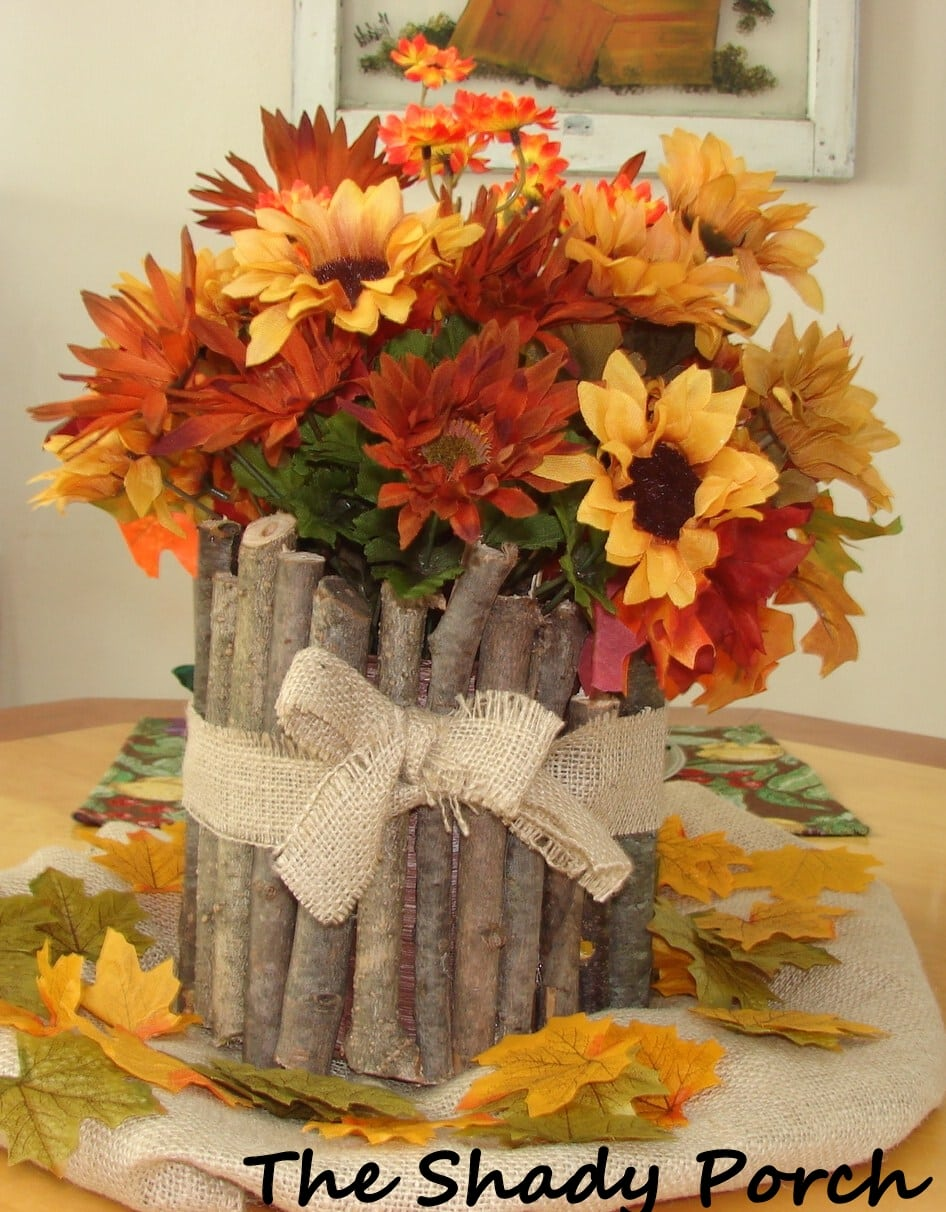 Get inspired 10 fall centerpieces how to nest for less rustic fall centerpiece from the shady porch junglespirit Choice Image