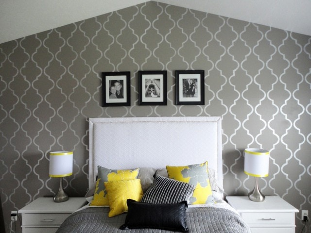 Stenciled yellow and gray bedroom from The Hills