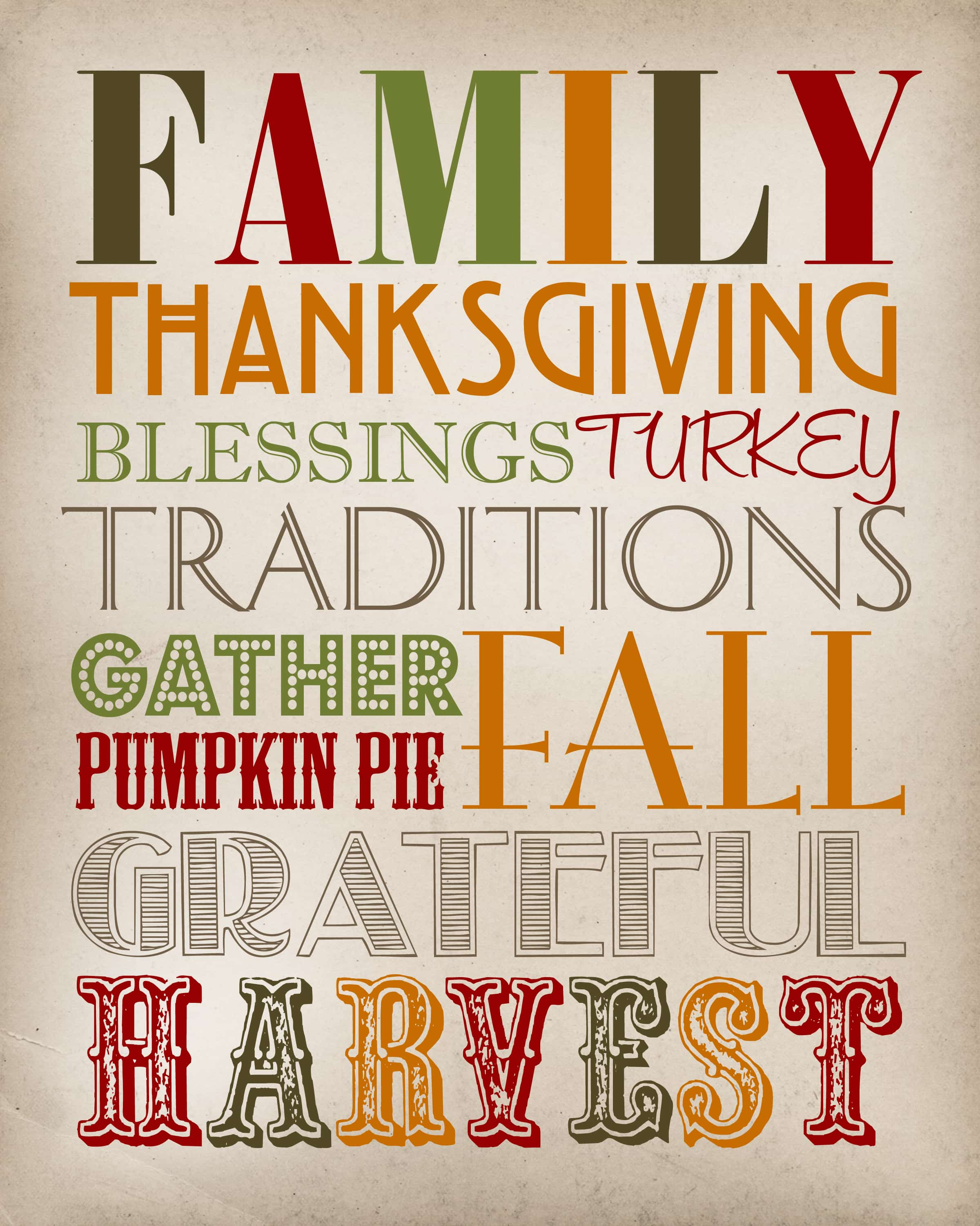 image regarding Subway Art Printable known as Thanksgiving Subway Artwork - Thanksgiving Printable