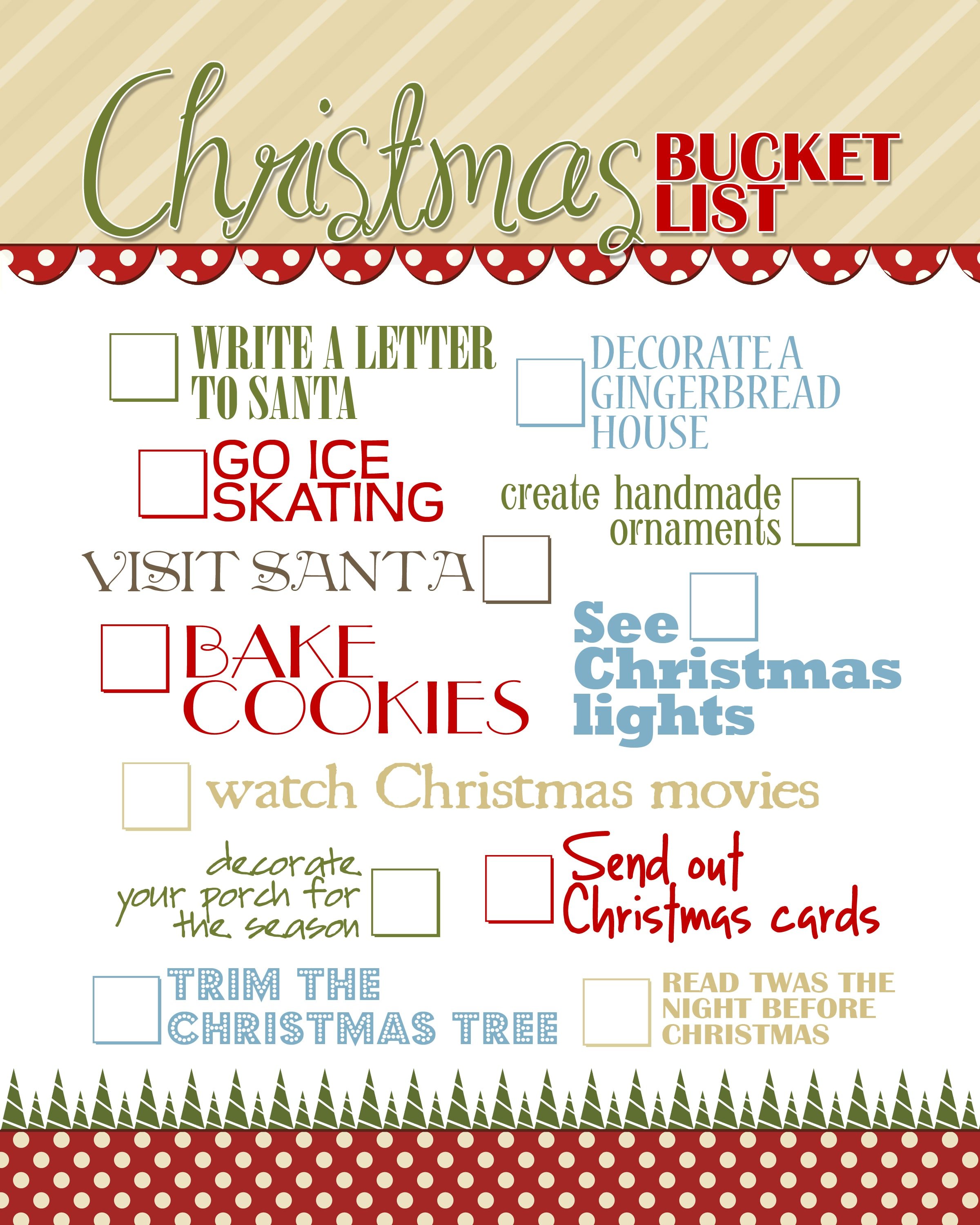 Christmas Bucket List {free printable} - How to Nest for Less™