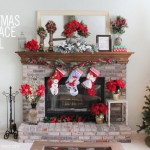 Christmas poinsettia fireplace mantel