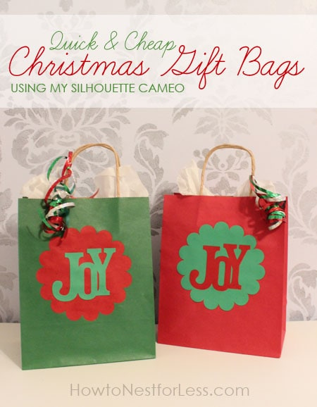 Quick easy christmas gift bags using my silhouette