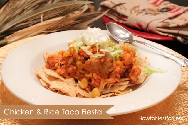 Chicken and rice taco fiesta on a white plate.
