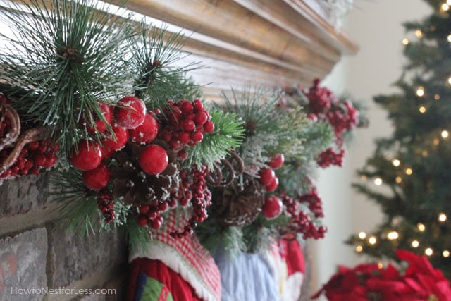 Our christmas mantel how to nest for less for Christmas mantel decorations garland