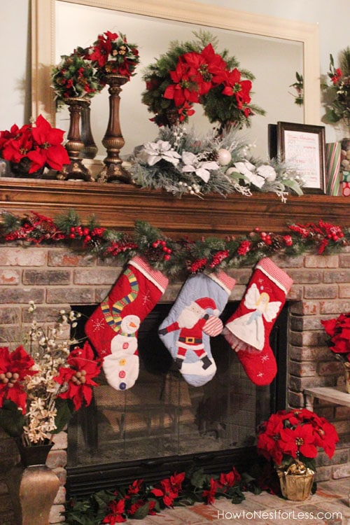 christmas fireplace mantel poinsettia