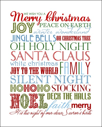 Christmas subway art free printable.