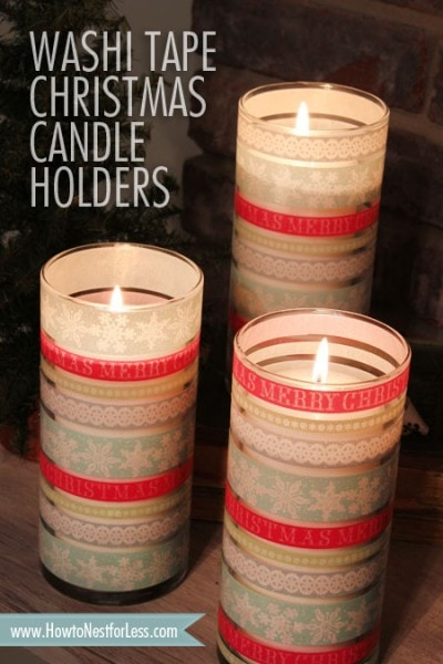 christmas washi tape candle craft