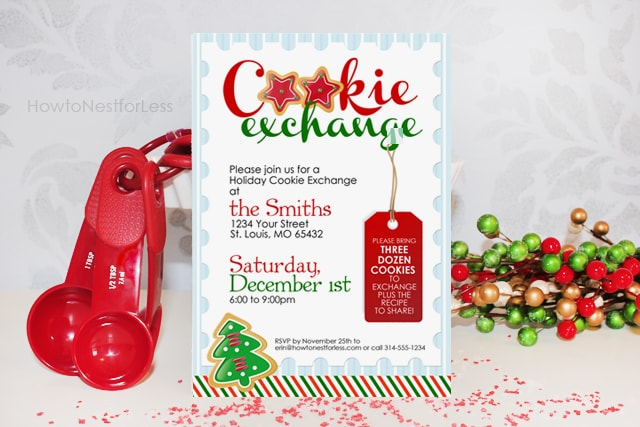 A cookie exchange invite with red measuring spoons beside it.