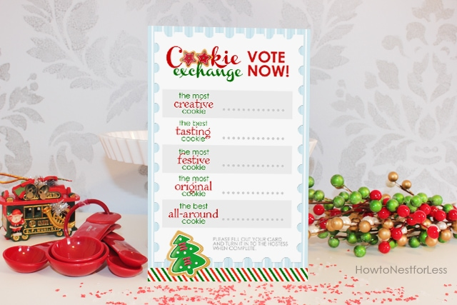A vote now cookie exchange card.