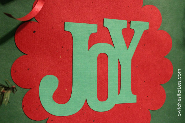 Up close picture of the word Joy.