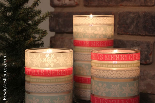 Christmas Washi Tape Candle Holders