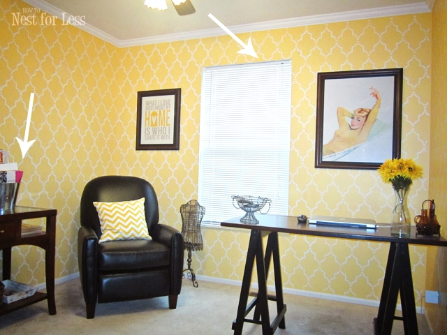 yellow-stencil-home-office-craft-room