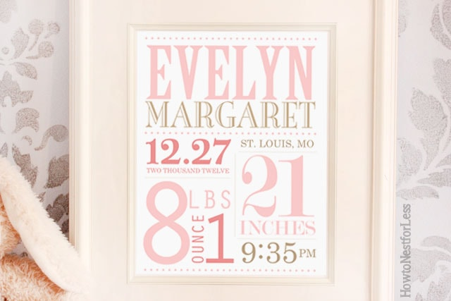 baby announcement subway art printable