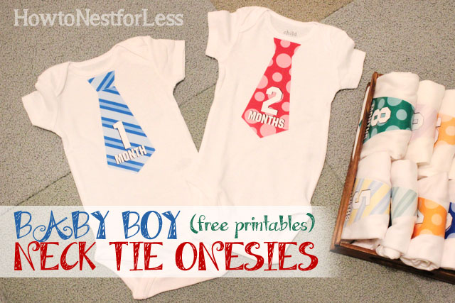 70fe2dac2 Baby Boy DIY Necktie Onesies  free printables  - How to Nest for Less™