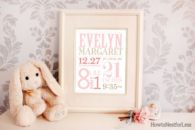 birth announcement subway art printable
