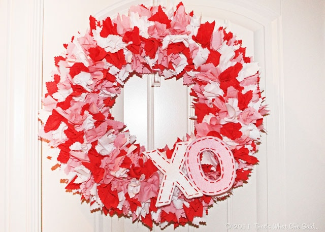 fabric ruffled valentine's day wreath