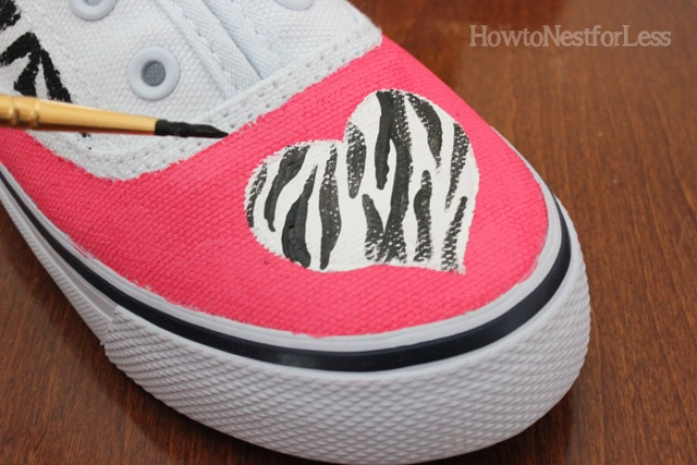 painted heart zebra stripe tennis shoes