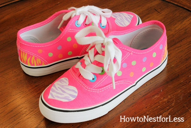 painted hot pink tennis shoes