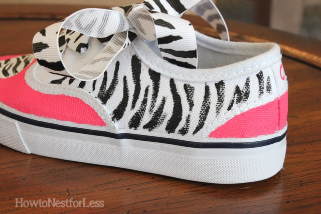 painted zebra stripe shoes