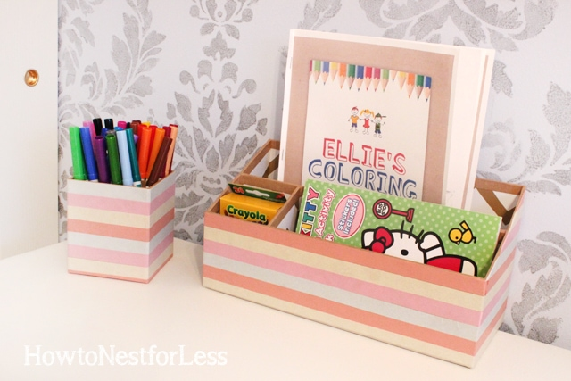 washi tape wrapped desk supplies
