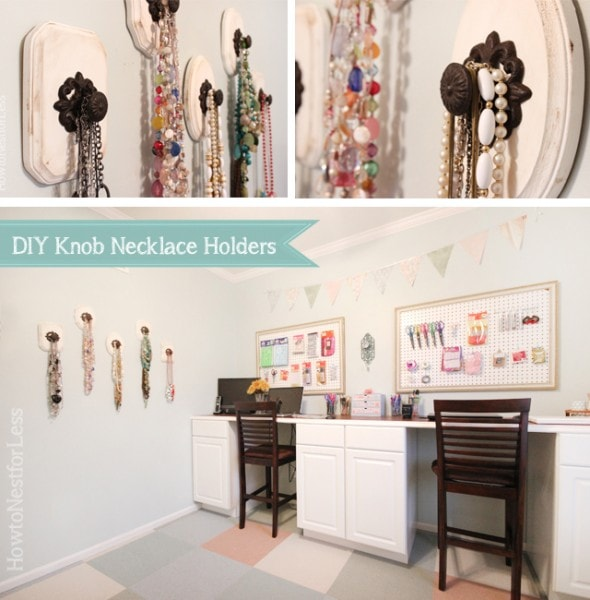 DIY knob necklace holders