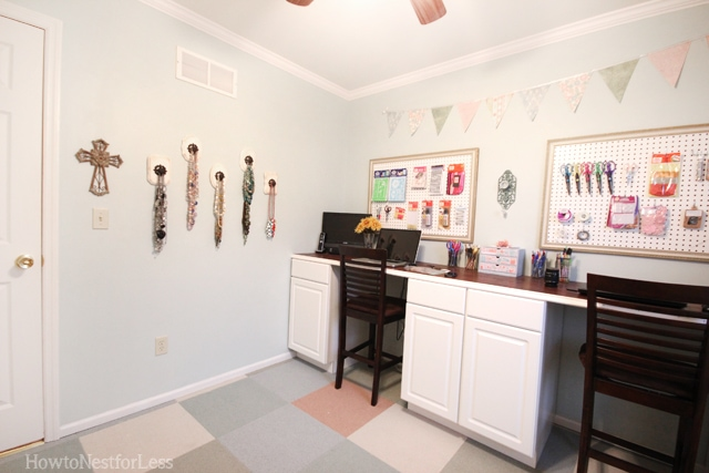 craft room DIY knob necklace holders
